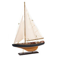 Bermuda Ship Model Sailboat 24 Inch Tall Nautical Decor Wood Canvas 14749