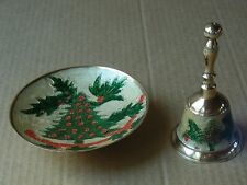 (SET OF 2) VINTAGE MATCHING BRASS ENAMEL CHRISTMAS TREE / HOLLY BELL AND BOWL