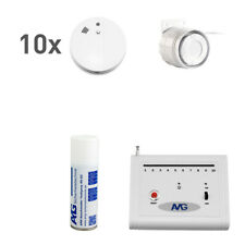 10 x Wireless Smoke Detector Set with Indoor Cable Siren Fire Alarm System