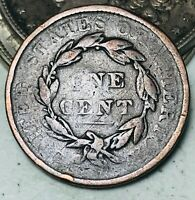 1835 Large Cent Coronet Head of 1836 1C Worn Date Damaged US Copper Coin CC5882