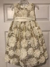 NWOT American Princess Off White Gold Sequin Formal Dress Size 4