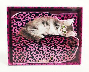 PAPYRUS Pink Velvet Kitty Cat Note Cards 12 BLANK Inside