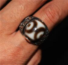 Tibetan three eyed dzi bead ring amulet gzi ancient 3 eyes pendant tibet genuine