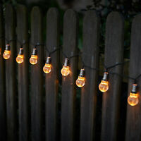 Solar Powered Filament Screw Bulb String Lights Garden Outdoor Fairy Summer Lamp