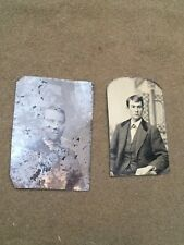 Lot of 2 Antique Tintype Pictures Photographs Men