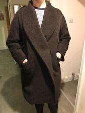 Max Mara Alpaca & Virgin Wool Long Oversized Coat, Dark Brown UK 8 - 10