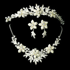 Winter Snowflake Bridal Jewelry Tiara Set White Silver Gold Ivory Red Black