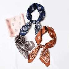 Paisley Hair Scarf Silk Feel Neck Scarf Satin Neckerchief Bandanna