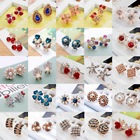 Women Lady Girl Crystal Rhinestone Flower Ear Stud Clip Earrings Fashion Jewelry