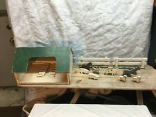 Vintage Folk Art Barn Building Wood House and 9 Hand Painted Animals Fence