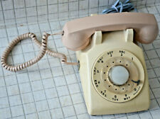 Vintage AT&T Rotary Dial Telephone Beige 1970s Phone Spiral Cord Tested Working