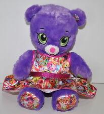 Build a Bear Workshop Shopkins Teddy Bear Plush Purple Shopkins Dress Sound Box