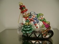 LORD & TAYLOR GLASS SNOWMAN FAMILY SLEIGH HOLIDAY CHRISTMAS TREE ORNAMENT