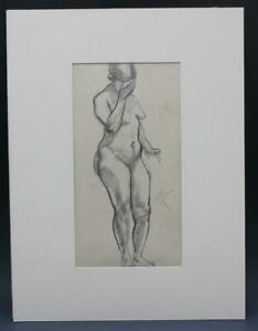 Signed Impressionist Nude Figural Line Drawing in Pencil by Hayley Lever