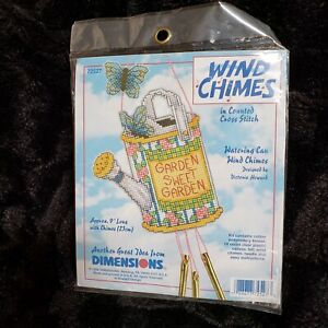 Dimensions Watering Can Wind Chimes 72527 Plastic Canvas Counted Cross Kit NEW