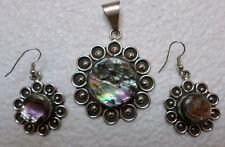 Mexican Jewelry Alpaca Silver Abalone Necklace / Earrings Set Taxco