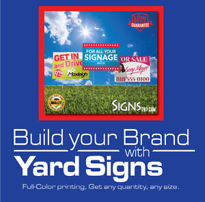 12 x 18 -5 Yard Sign Custom Double Sided Print FULL COLOR + Metal Stakes