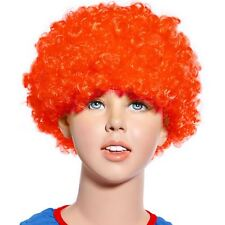 80s Curly Afro Wig Party Clown Funky Disco Kids Childs Adult Costume Orange Hair