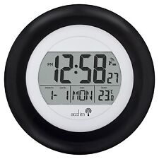 Acctim Circus Radio controlled black date temp wall clock MSF signal 74583