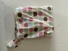Carters Pink Brown Green Blue Polka Dot Spots Knotted Knot Velour Baby Blanket
