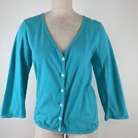 Fresh produce women's knit top jacket size large blue V-neck