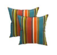 "Set of 2 - Teal, Orange, Green, Red Stripe Outdoor Throw Pillows - 17"" x 17"""