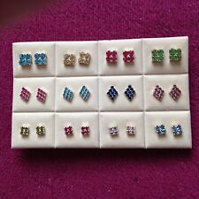 JOB LOT-12 pairs of 3 different styles of colour diamante studs.Silver plated.