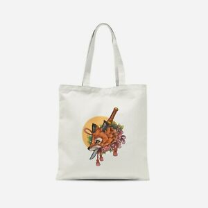 Floral Sword Fox Tote Bag - Print on Demand