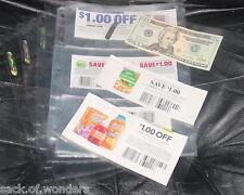 (5) Coupon Sleeves Holders Inserts Pages for binders cards 3 POCKETS Money Bills