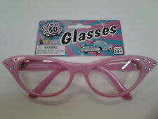 50's Pink Rhinestone Glasses 1950's Sock Hop Horn Rimmed Cat Eye Clear Lenses