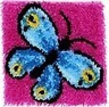 Blue Butterfly Latch Hook Rug Kit