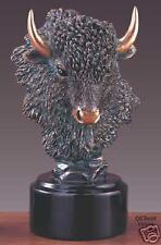 """Bronze Buffalo Head  Sculpture Statue 6"""" W x 10"""" H  NEW"""