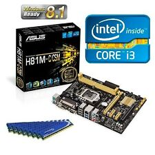 INTEL CORE I3 4130 CPU ASUS H81 CSM MOTHERBOARD 8GB DDR3 MEMORY RAM COMBO KIT