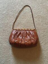 New listing Vintage Judith Leiber Snake Skin Clutch Bag/Purse with Dust Bag -Chestnut Brown