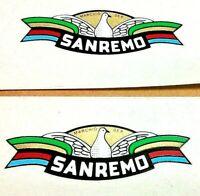 "SAN REMO with bird 9/16 x 2"" transfer stickers, Italian wheel rim maker, pack 4"