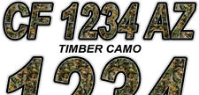 Timber Camo Custom Boat Registration Numbers Decals Vinyl Lettering Stickers
