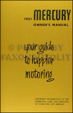 1951 Mercury and Monterey Owners Manual 51 Owner User Instruction Guide Book