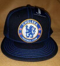 CHELSEA SOCCER  HAT BLACK ROYAL  SNAP BACK FLAT BUILD ADJUSTABLE NEW HAT NEW HAT