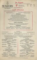 Vintage 1950s THE PALACE HOTEL Cafe Specials Restaurant Menu, San Francisco, CA