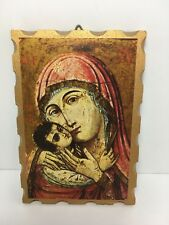 "Icon Madonna & Child Mary & Jesus Art Print Italy Wood Plaque 5"""