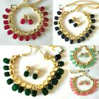 Indian Bollywood Gold Plated Bridal Pearl Kundan Choker Necklace Jewelry Set