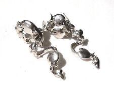 Bijou alliage argenté boucles d'oreilles  poissons Micris clips  earrings