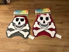 NWT Mohawk Home Memory Foam Pink/White Pirate Skull and Crossbones Bath Mat Pair