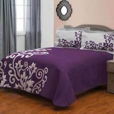 3Pc Reverse Side Quilt Set Bedspread Bedding Coverlet Set Floral King