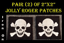 """Pair of Jolly Roger 2""""x2"""" Iron On Square Embroidered Patches Skull Cross Bones"""