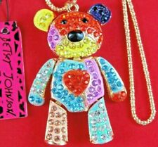 *Articulated* NWT BETSEY JOHNSON LG MULTI-COLOR RHINESTONE HEART BEAR NECKLACE