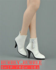 "1/6 Female Leather Ankle Boots B For 12"" PHICEN Hot Toys Figure SHIP FROM USA"
