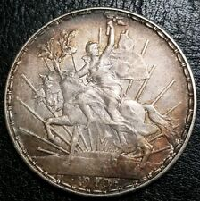1910 Mexico Un Peso Caballito 100th Anniversary of the Independence Silver Crown