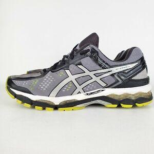 Asics Gel Kayano 22 Running Shoes Men's Size 10 Gray Black Yellow T547N