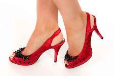 raspberry pink claret red satin peeptoe sling beaded beaded heels wedding / race